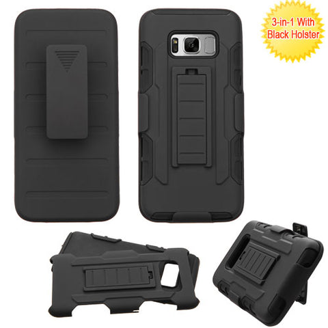 For Samsung Galaxy S8 Advanced Armor Stand Protector Cover with Black Holster