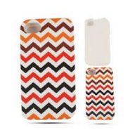 Chevron Zig Zag Black/Red Hybrid Hard Protector Cover Case iPhone 4