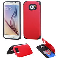 For G920 Galaxy S6 Red Inverse Advanced Armor Stand Case Cover +Card Wallet