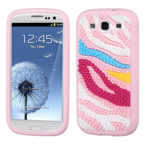 For Galaxy S3 Colorful Zebra Skin Spike/Pink Pastel Skin Cover