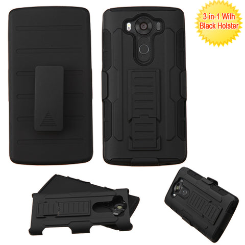 For LG V10 Advanced Impact Armor Stand Protector Cover (with Black Holster)