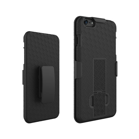 For iPhone 6+ 6S+ Woven Holster Clip +Hard Shell with Stand Cover Protector Case