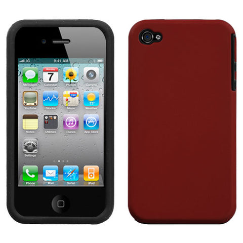 For iPhone 4s/4 Red Fusion Rubberized Protector Cover Case