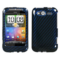 For Wildfire S CDMA, GSM Racing Fiber/Blue (2D Silver) Phone Protector Cover