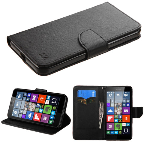 For Lumia 640 XL Black Pattern/Black Liner MyJacket wallet (with card slot)