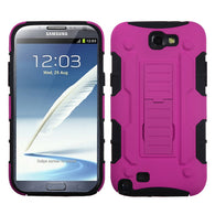 For Galaxy Note 2 Hot Pink/Black Car Armor Stand Protector Cover (Rubberized)