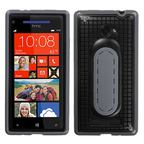 For Windows Phone 8X Black Snap Tail Stand Hard Silicone Protector Cover Case