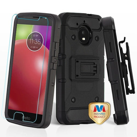 For Motorola Moto E4 3-in-1 Kinetic Hybrid Protector Armor Cover Holster Combo