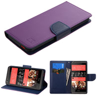 For Desire 626 Purple Pattern/Dark Blue Liner MyJacket wallet (with card slot)