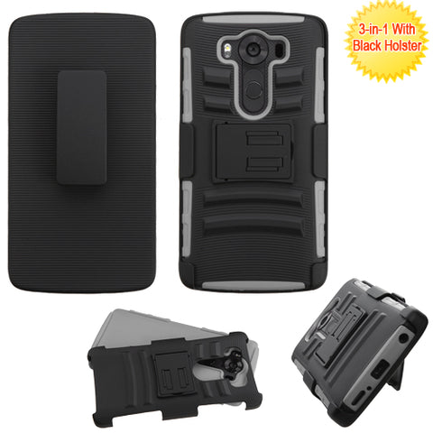 For LG V10 Advanced Impact Armor Stand Protector Case Cover (With Black Holster)