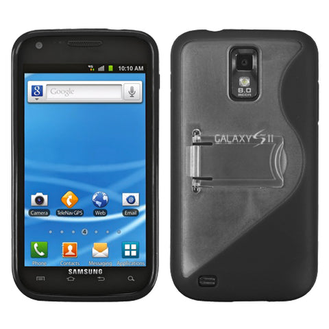 For T989 Galaxy S II Clear/Solid Black (S Shape With Stand) Gummy Cover