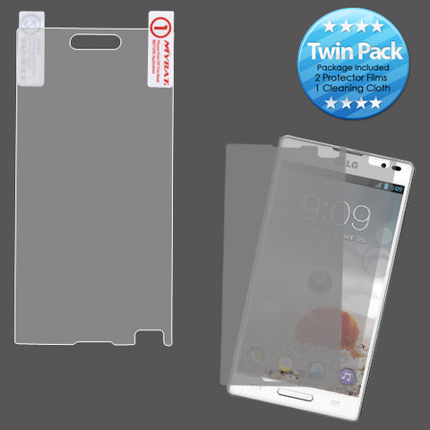 2x LCD Screen Cover Protector Film with Cloth Wipe for LG: P769 (Optimus L9)