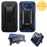 For G920 Galaxy S6 Black/Dark Blue Advanced Armor Stand Case Cover (+Holster)