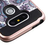 For LG G5 Purple Flowers(Rose Gold)/Black Brushed Hybrid Protector Cover