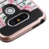 For LG G5 Pink Fresh Roses(Rose Gold)/Black Brushed Hybrid Protector Cover