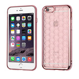 For iPhone 6s Plus/6 Plus Rose Gold Honeycomb Electroplated Candy Skin Case