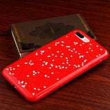 For iPhone 7 / 8 Plus Silver Hearts/Red Krystal Gel Series Soft Candy Skin Cover