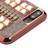 For iPhone 7 / 8 Plus Rose Gold Square Crystals Rhinestones Candy Skin Case