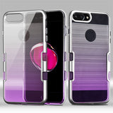 For iPhone 7 / 8 Plus Metallic Silver/Purple Gradient TUFF Brushed Panoview Case