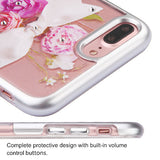 For iPhone 7 / 8 Plus Metallic Silver/Roses Diamante Panoview Armor Case Cover