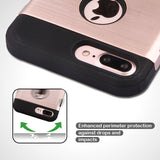 For iPhone 7 / 8 Plus Rose Gold/Black Brushed TUFF Trooper Hybrid Protector Case