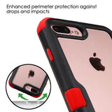 For iPhone 7 / 8 Plus Natural Black Frame+Transparent PC Back/Red Vivid Cover