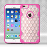 For iPhone 6s/6  Clear Honeycomb/Hot Pink Challenger Hybrid Protector Cover
