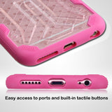 For iPhone 6s/6  Clear/Hot Pink DefyR Hybrid Impact Armor Protector Case Cover