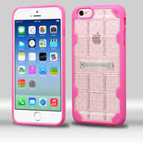 For iPhone 6s/6 Transparent Clear/Hot Pink DefyR Hybrid Protector Cover w/Stand