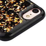 For iPhone 7 / 8 Gold Flakes/Black Krystal Gel Rubber Silicone Candy Skin Cover