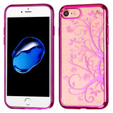 For iPhone 7 / 8 Hot Pink Glassy Maple Vine SPOTS Electroplated Premium Cover