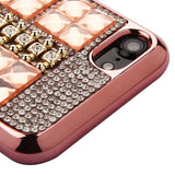 For iPhone 7 / 8 Rose Gold Square Crystals Rhinestones Candy Skin Cover Case