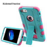 For iPhone 7 / 8 Teal Green/Electric Pink Galactic Hybrid Cover Stand Holster