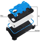 For iPhone 7 / 8 Blue/Black 3-in-1 Storm Tank Protector Cover Holster Combo