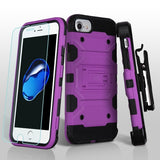 For iPhone 7 / 8 Purple/Black 3-in-1 Storm Tank Protector Cover Holster Case
