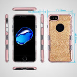 For iPhone 7 / 8 Metallic Rose Gold/Clear Gold Full Glitter Protector Cover