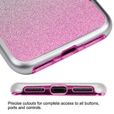 For iPhone 7 / 8 Metallic Silver/Pink Gradient Silver Glitter Panoview Cover