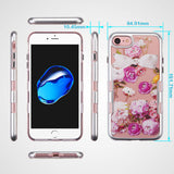 For iPhone 7 / 8 Metallic Silver/Roses Diamante Panoview Hybrid Protector Cover