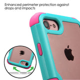 For iPhone 7 / 8 Natural Teal Green Frame+Clear Back/Electric Pink Vivid Cover