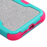For iPhone 7 / 8 Teal Green Frame/Electric Pink Silver Full Glitter Vivid Cover