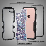Natural Black Frame+Clear Purple Flowers Back/Black TUFF Vivid Cover for iPhone7