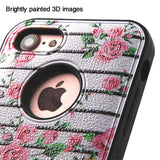 For iPhone 7 / 8 Pink Fresh Roses/Black VERGE Protector Case Cover w/Stand
