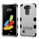 For LG Stylo/Stylus 2 Natural Gray/Black TUFF Hybrid Phone Cover (w/ Stand)