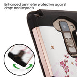 For LG Stylo 2/Stylus 2 Spring Flowers Rose Gold/Black Brushed TUFF Trooper Case
