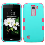 For LG Treasure/Tribute/K7 Teal/Electric Pink TUFF Hybrid Phone Protector Case