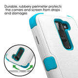 For LG Treasure/Tribute/K7 Ivory/Teal TUFF Hybrid Phone Protector Case(w/ Stand)