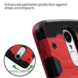 For LG K4/Fortune/K8/Phoenix 3 Red/Black Storm Tank Hybrid Protector Case Cover