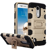 For LG K4/Fortune/K8/Phoenix 3 Gold/Black Storm Tank Hybrid Protector Case Cover