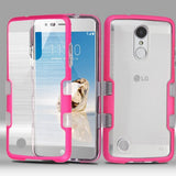 For LG K4/Fortune/K8/Phoenix 3 Metallic Electric Pink/Clear TUFF Brushed Cover