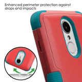 For LG K4/Fortune/K8/Phoenix 3 Natural Baby Red/Tropical Teal Hybrid Cover Stand